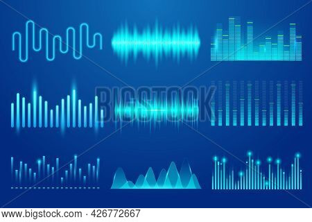 Set Of Sound Music Wave. Template Audio Technology, Musical Pulse, Sound Charts And Other Elements.