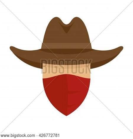 Desert Cowboy Icon. Flat Illustration Of Desert Cowboy Vector Icon Isolated On White Background