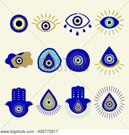Evil Eye Or Turkish Eye Symbols And Icons Set. Hand Drawn Various Talismans. Hand Drawn Eyes Talisma