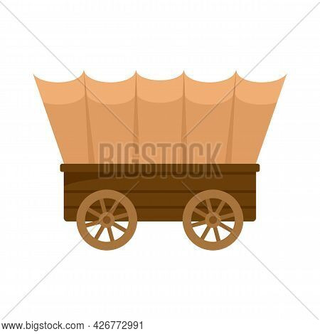 Western Carriage Icon. Flat Illustration Of Western Carriage Vector Icon Isolated On White Backgroun