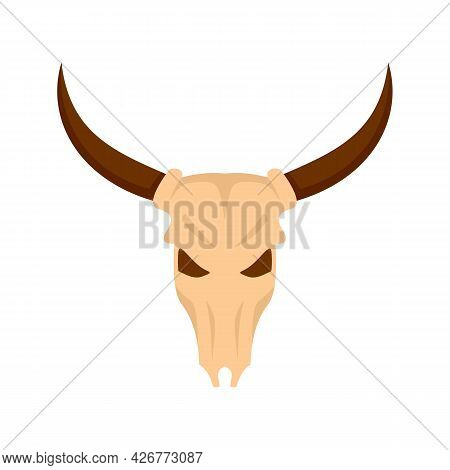 Cow Skull Icon. Flat Illustration Of Cow Skull Vector Icon Isolated On White Background