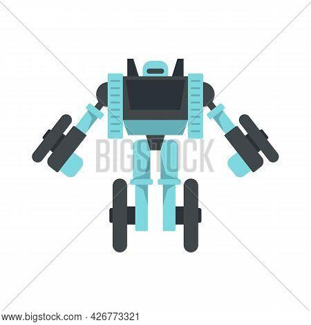 Wheel Robot Transformer Icon. Flat Illustration Of Wheel Robot Transformer Vector Icon Isolated On W