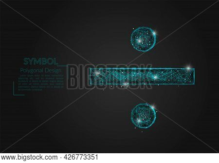 Abstract Isolated Blue Image Of A Division Sign. Polygonal Illustration Looks Like Stars In The Blas