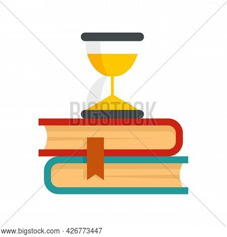 Hourglass On Books Icon. Flat Illustration Of Hourglass On Books Vector Icon Isolated On White Backg