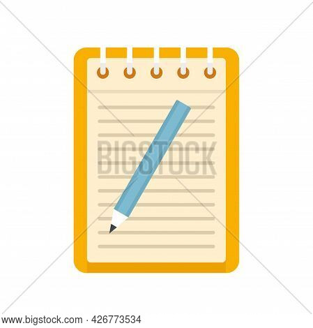 Exam Paper Notebook Icon. Flat Illustration Of Exam Paper Notebook Vector Icon Isolated On White Bac
