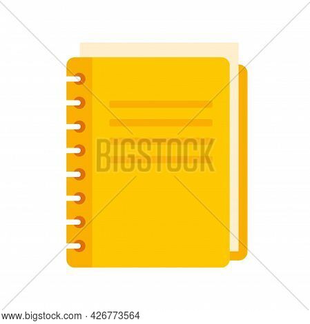School Notebook Icon. Flat Illustration Of School Notebook Vector Icon Isolated On White Background