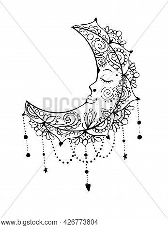 Crescent Moon Ornamental Coloring Book Page In Bohemian Style