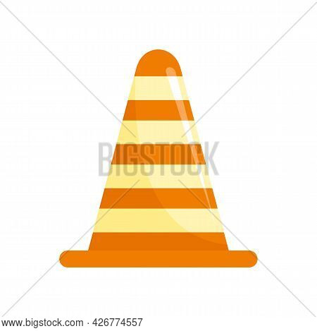 Road Cone Icon. Flat Illustration Of Road Cone Vector Icon Isolated On White Background