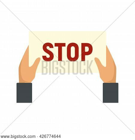 Stop Protest Icon. Flat Illustration Of Stop Protest Vector Icon Isolated On White Background