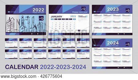 Calendar 2022, 2023, 2024 Year Template, Set Desk Calendar 2022 Template, Happy New Year, Minimal Tr