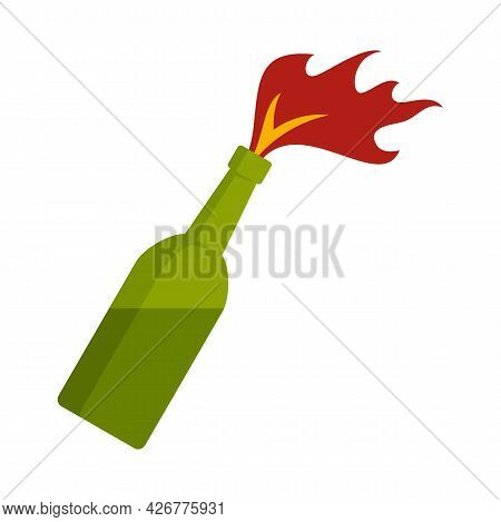Molotov Cocktail Icon. Flat Illustration Of Molotov Cocktail Vector Icon Isolated On White Backgroun