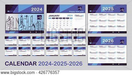 Calendar 2024, 2025, 2026 Year Template, Set Desk Calendar 2024 Template, Happy New Year, Minimal Tr