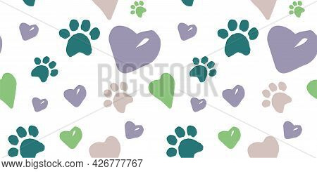 Seamless Doodle Pattern With Dog Footprints, Hearts, Lettering Of The Word Dog, Lettering Of The Wor