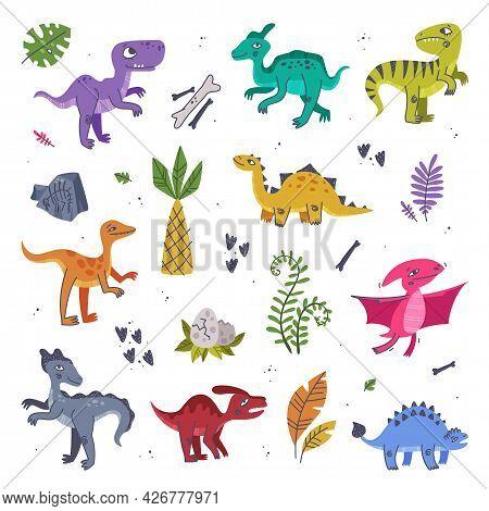 Funny Dinosaurs As Cute Prehistoric Creature And Comic Jurassic Predator Vector Set