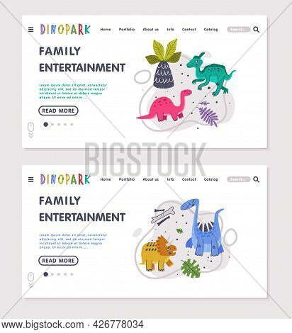 Family Entertainment Landing Page With Funny Dinosaurs As Cute Prehistoric Creature And Comic Jurass