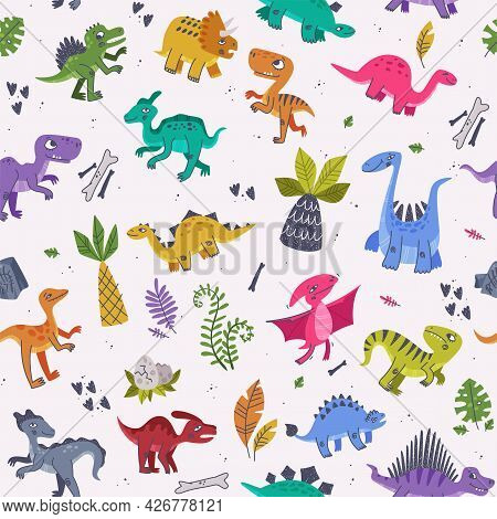 Funny Dinosaurs As Cute Prehistoric Creature And Comic Jurassic Predator Vector Seamless Pattern