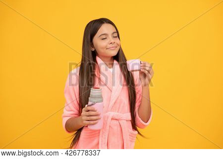 Dreamy Teen Girl In Home Terry Bathrobe With Thermos Bottle, Thirsty
