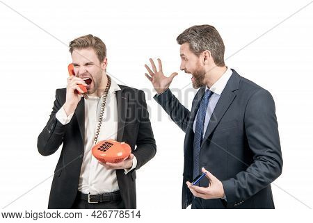 Angry Man Shout In Telephone Receiver. Telephone Problem. Communication Problem