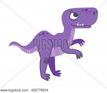 Funny Purple Dinosaur As Cute Prehistoric Creature And Comic Jurassic Predator Vector Illustration