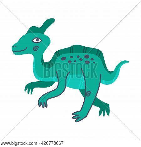 Funny Turquois Dinosaur As Cute Prehistoric Creature And Comic Jurassic Predator Vector Illustration