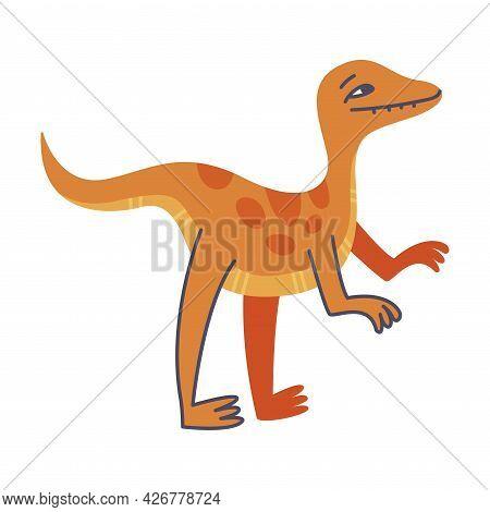 Funny Orange Dinosaur As Cute Prehistoric Creature And Comic Jurassic Predator Vector Illustration