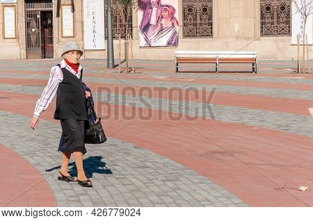 Timisoara, Romania - September 05, 2016: Woman Walking On The Street. Real People.