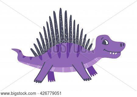 Funny Purple Spiked Dinosaur As Cute Prehistoric Creature And Comic Jurassic Predator Vector Illustr