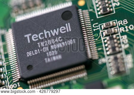 Timisoara, Romania - March 29, 2020: Close-up Of A Techwell Tw2864 4-channel Video Decoder And Audio