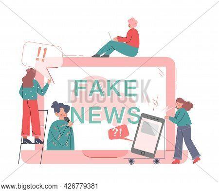 People Disseminating Fake News On Internet, Mass Media Propaganda, Untruth Information Spread Cartoo