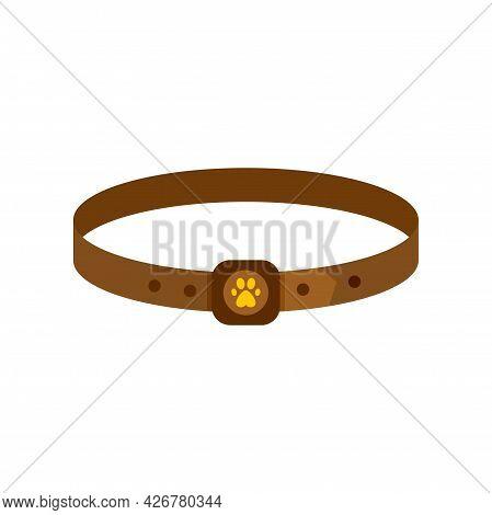 Dog Leather Belt Icon. Flat Illustration Of Dog Leather Belt Vector Icon Isolated On White Backgroun