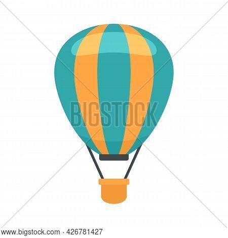 Flight Air Balloon Icon. Flat Illustration Of Flight Air Balloon Vector Icon Isolated On White Backg