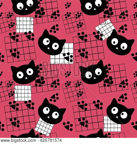 Cats Seamless Pattern. Cats, Sheets Of Paper In A Cage And Paw Prints. Black Cats. The Vector Is Mad