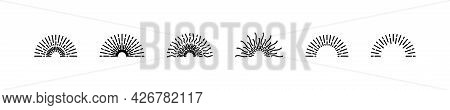 Sunburst Rays Lines Doodle Style Circle Style Burst Sun Rays Radial Trendy Scribble Linear Vector Il