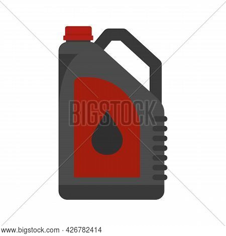 Plastic Oil Canister Icon. Flat Illustration Of Plastic Oil Canister Vector Icon Isolated On White B