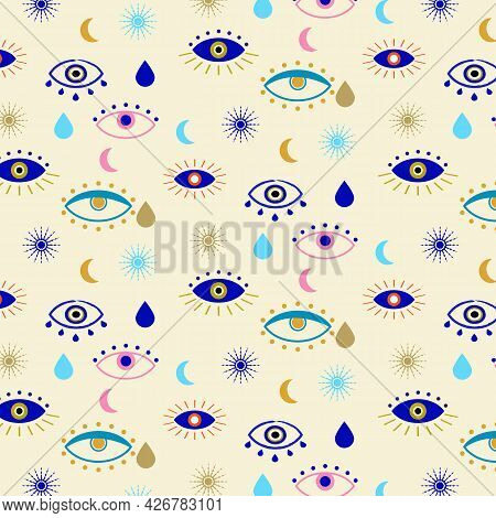 Hand Drawn Evil Eyes Talismans For Protection And Good Luck Seamless Pattern.