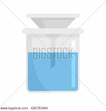 Funnel In Flask Icon. Flat Illustration Of Funnel In Flask Vector Icon Isolated On White Background