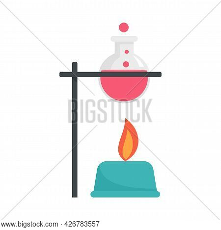 Boiling Flask Under Fire Icon. Flat Illustration Of Boiling Flask Under Fire Vector Icon Isolated On