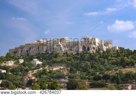 View Of The Acropolis And The Parthenon From The Side. Greece, Athens