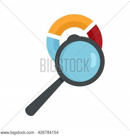 Magnifier Pie Chart Icon. Flat Illustration Of Magnifier Pie Chart Vector Icon Isolated On White Bac