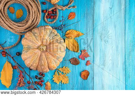 Pumpkin And Autumn Foliage On A Bright Blue Background. The Concept Of Autumn Holidays, Halloween, T