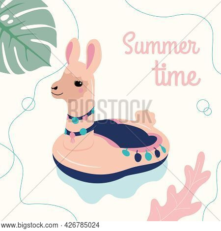 Vector Inflatable Mattress In The Form Of A Beige Llama On A Background Of Leaves. Vector Illustrati