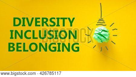 Diversity, Inclusion, Belonging Symbol. Green Shining Light Bulb Icon. Words 'diversity, Inclusion,