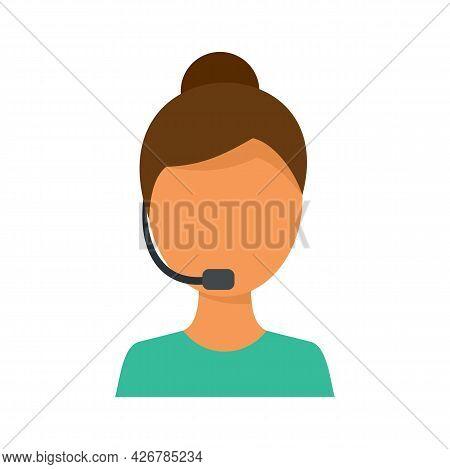 Customer Woman Support Icon. Flat Illustration Of Customer Woman Support Vector Icon Isolated On Whi