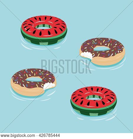 Set Of Colorful Inflatable Lifebuoys In The Form Of A Donut And Watermelon In The Pool. Pool, Beach