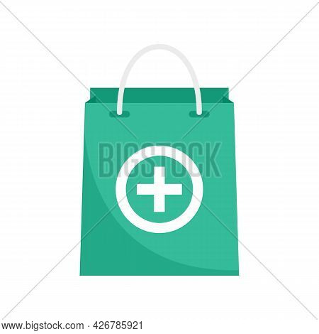 Pharmacist Pill Bag Icon. Flat Illustration Of Pharmacist Pill Bag Vector Icon Isolated On White Bac