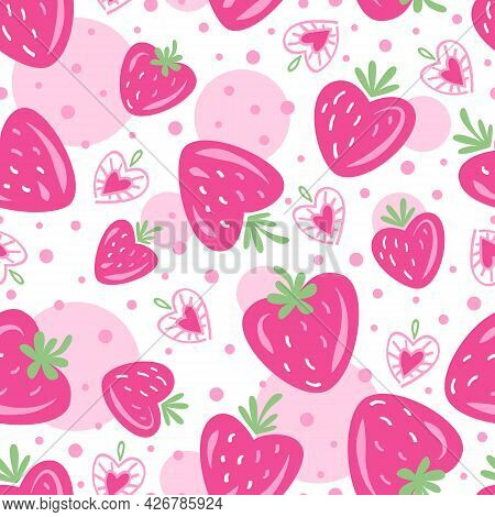 Strawberry. Summer Seamless Pattern. Strawberries And Hearts. Seamless Background For Menu, Postcard