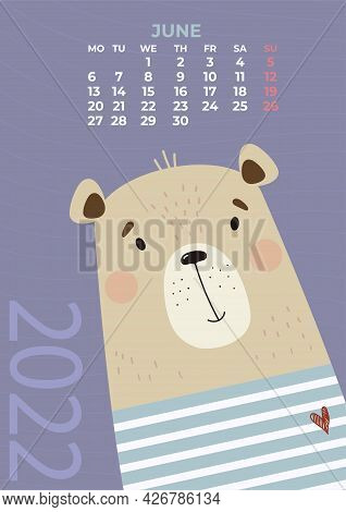 Bear Calendar. June 2022. Cute Bear Sailor In A Striped Marine Vest. Vector Illustration. Vertical T