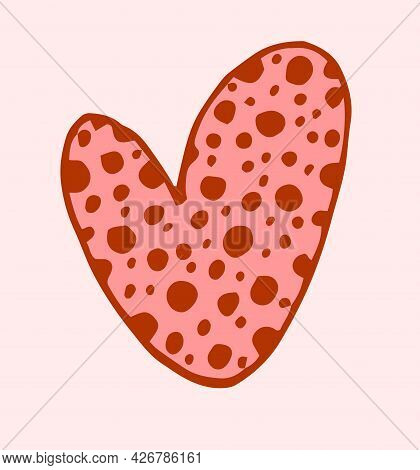 Vector Heart Of Pink Color With A Contour And A Pattern Of Dark Red Dots. A Hand-drawn Heart With A
