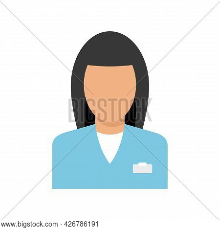 Woman Pharmacist Icon. Flat Illustration Of Woman Pharmacist Vector Icon Isolated On White Backgroun