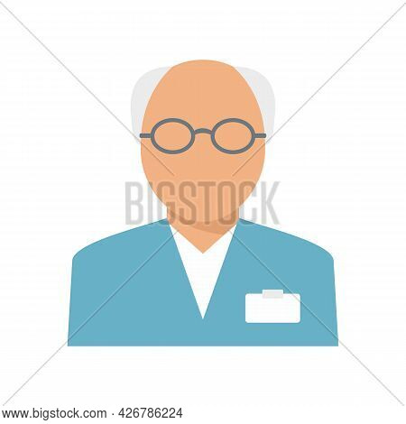 Old Pharmacist Icon. Flat Illustration Of Old Pharmacist Vector Icon Isolated On White Background